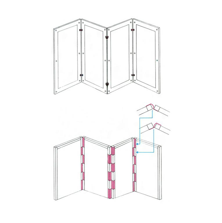 Конструкции креплений панелей многостворчатой ширмы