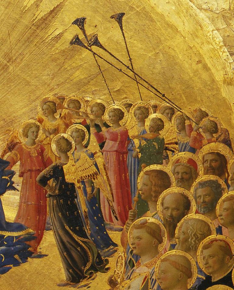 Коронование Девы Марии. Фрагмент. Ангелы с трубами. Ок. 1432