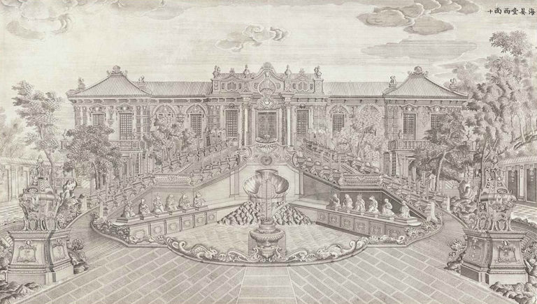 Летний дворец Ихэ-юань. Западный фасад дворца Спокойных морей. 1786