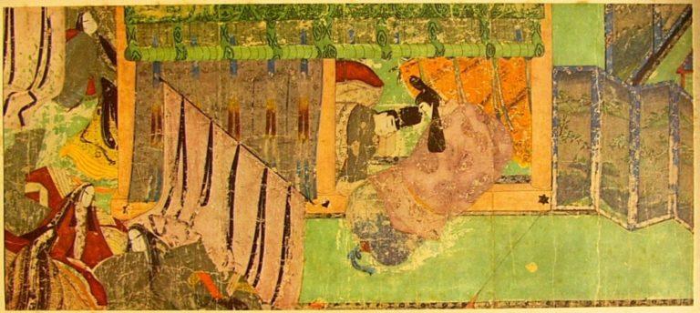 Многостворчатая ширма в интерьере эпохи Хэйан
