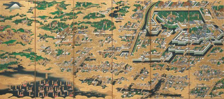 Панорама Эдо. Шестистворчатая ширма. XVII в.