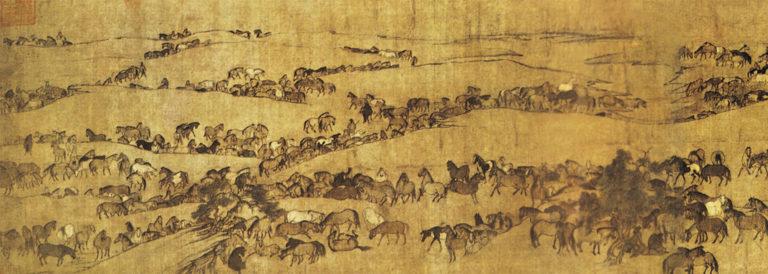 Пасущиеся кони. Фрагмент. Левая часть. Ок. 1085