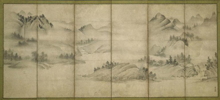 Пейзаж четырех времен года. Парные шестистворчатые ширмы. Левая ширма. Период Муромати (1392–1573), нач. XVІ в.
