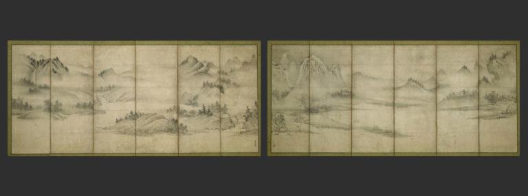 Пейзаж четырех времен года. Парные шестистворчатые ширмы. Период Муромати (1392–1573), нач. XVІ в.