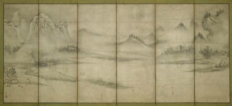 Пейзаж четырех времен года. Парные шестистворчатые ширмы. Правая ширма. Период Муромати (1392–1573), нач. XVІ в.