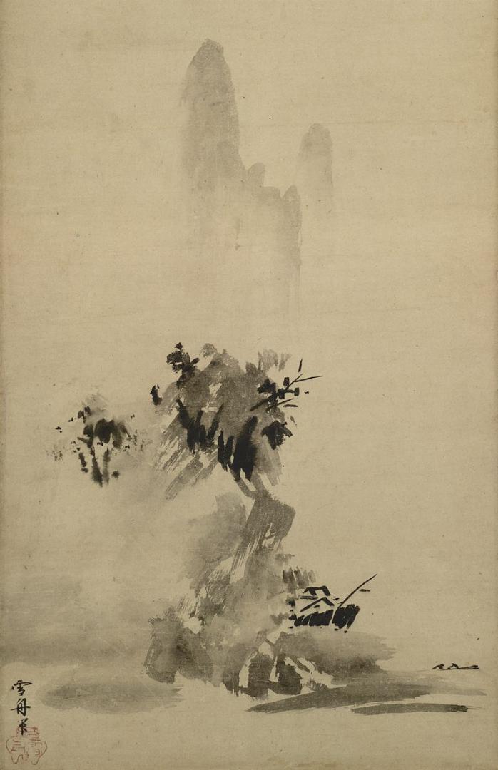Пейзаж в стиле хабоку. Фрагмент свитка. 1495