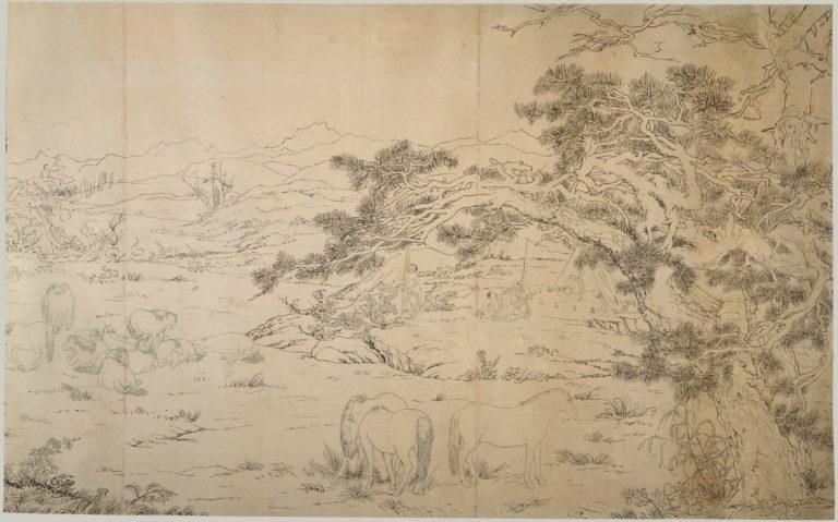 Подготовительный эскиз к свитку «Сто лошадей». Фрагмент. 1723–1725