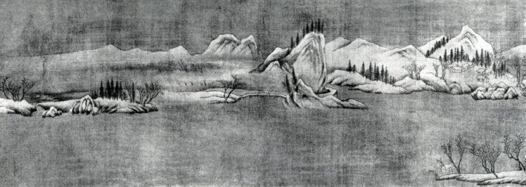 Просвет после снегопада. Фрагмент свитка. Живопись на шелке. Предположительно VIII в.