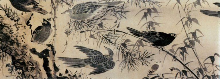 Птицы в кустах. Фрагмент свитка. XV в.