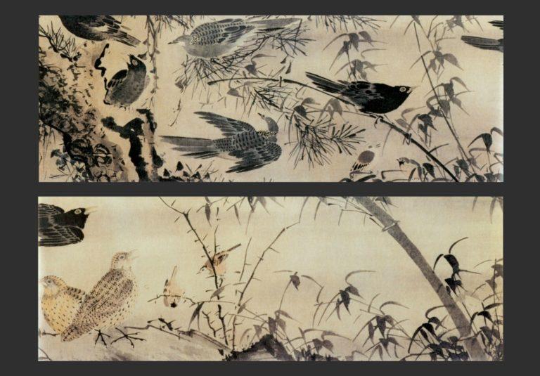Птицы в кустах. Фрагменты свитка. XV в.