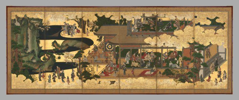 Развлечения в особняке. Пара шестистворчатых ширм. Правая ширма. Япония, 1640-е