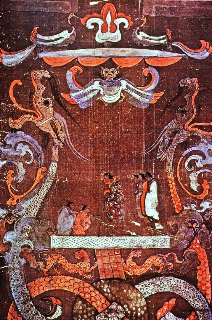 «Штандарт» из захоронения маркизы Дай в Мавандуе. Фрагмент. II в. до н.э.