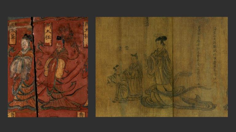 Слева: Фрагмент ширмы из гробницы Сымы Цзиньлуна. 484 г. Справа: Фрагмент свитка «Мудрые и добропорядочные женщины». Копия периода Сун (960–1279). Художник – возможно, Гу Кайчжи (ок. 346–407)