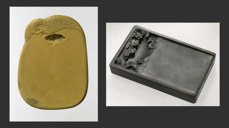 Слева: Камень для растирания туши с изображением феникса. XVIII в. Справа: Камень для растирания туши. Династия Цин. Музей Метрополитен, Нью-Йорк