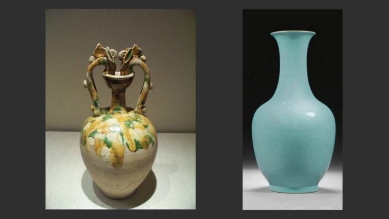Слева: Керамика периода Тан (618–906). Справа: Керамика периода Сун (960–1279)