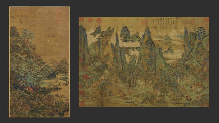 Слева: Плывущие лодки и дворец на берегу реки. VIII в. Приписывается художнику Ли Сысюнь. Справа: Путешествие Минхуана в Шу. Сунская копия картины, созданной ок. 800 г. Художник – Ли Чжаодао