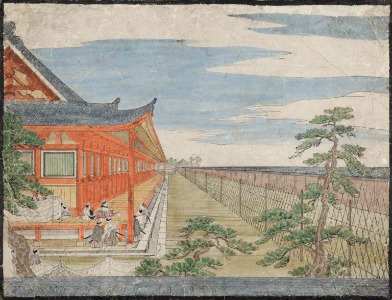 Состязание в стрельбе из лука в храме Сандзю-сангэн-до в Киото. 1759