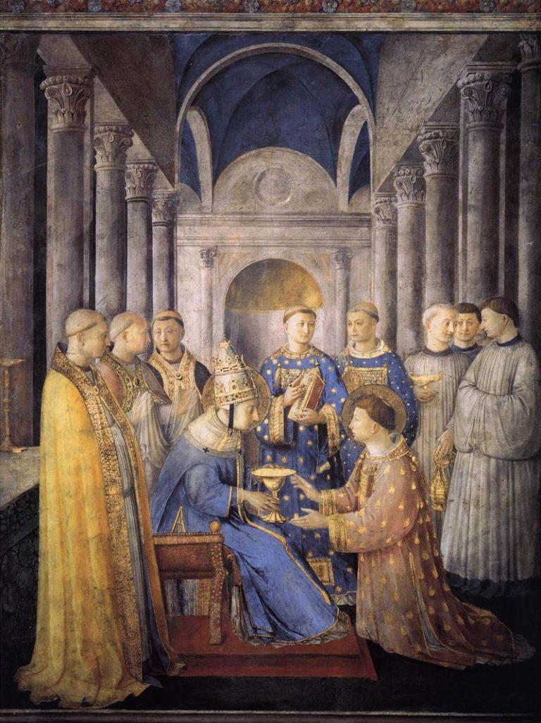 Св. Лаврентий получает дьяконство от папы Сикста II. 1447–1448