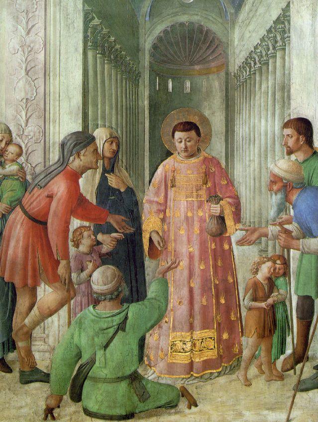 Св. Лаврентий, раздающий деньги нищим. 1447–1448