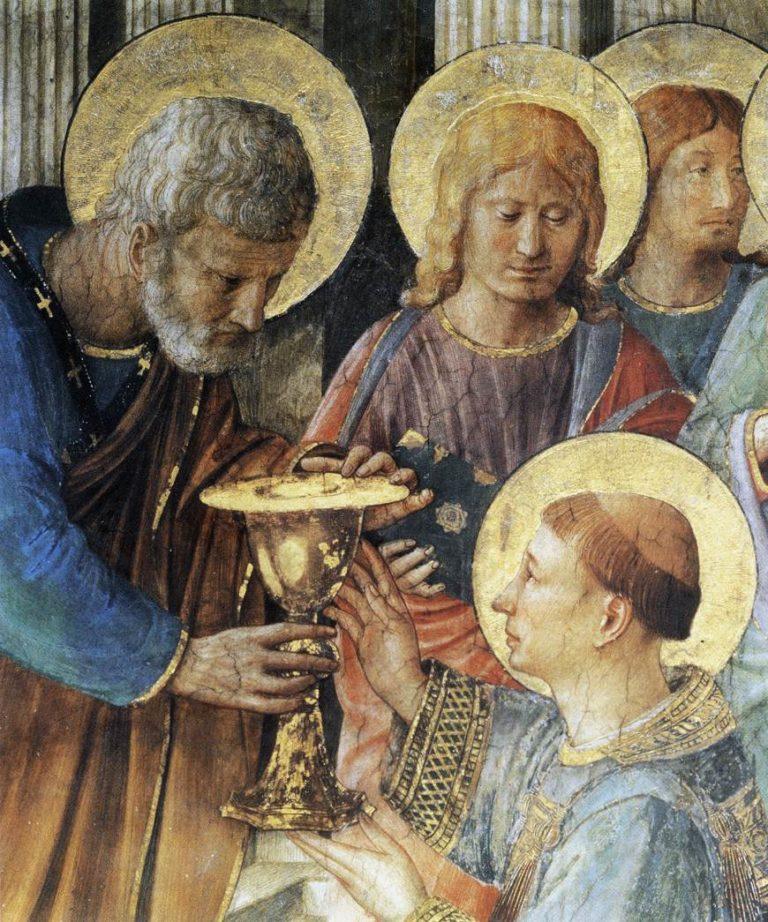 Св. Петр рукополагает Стефана в дьяконы. Фрагмент. 1447–1448