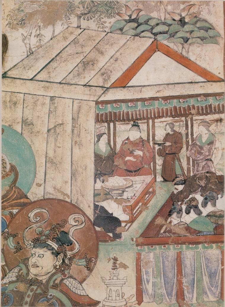 Свадебный пир. Фрагмент композиции «Майтрейя-сутра». Период Тан (618–906). VIII в.