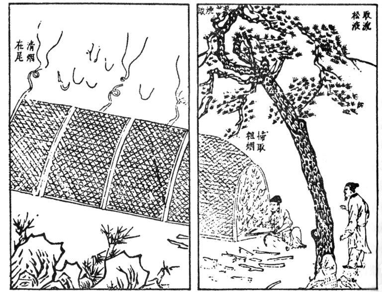 Сжигание сосны для получения китайской туши. XVII в.