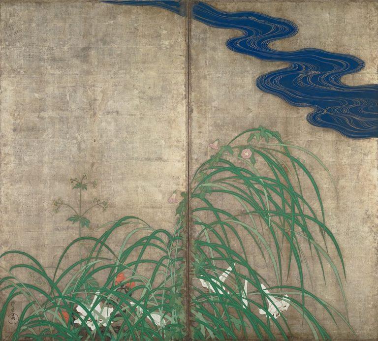 Цветущие растения лета и осени. Пара двухстворчатых ширм. Правая ширма. I пол. XІX в.
