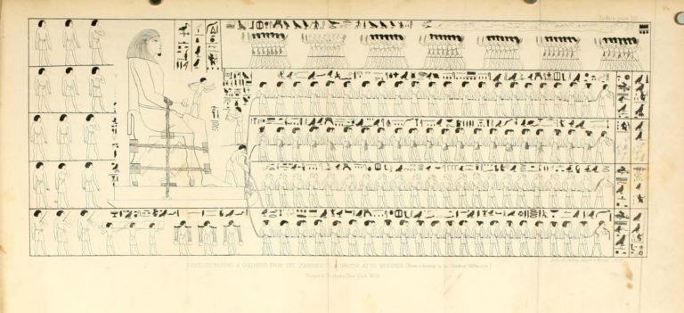 Транспортировка колосса. Прорисовка древнеегипетского рельефа. 1850-е