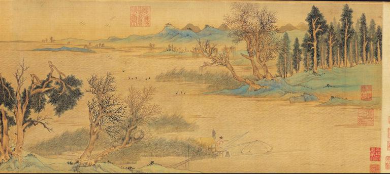 В манере Чжао Боцзюя (сер. XІІ в.) по мотивам «Песни о Красной скале» Су Дунпо. Фрагмент свитка. 1548