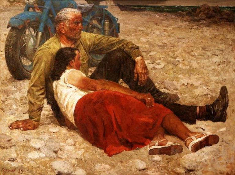 Влюблённые. 1959. Художник – Гелий Коржев (1925–2012). Третьяковская галерея, Москва