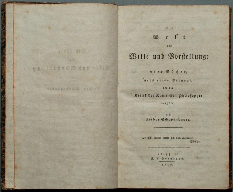А. Шопенгауэр. Мир как воля и представление. Лейпциг, 1819