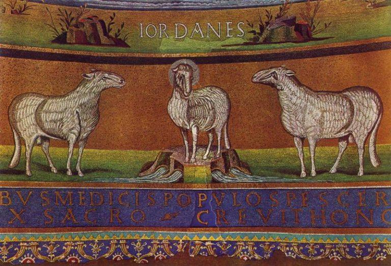 Агнец Божий. Фрагмент мозаики «Второе пришествие Христа». Первая треть VI в.