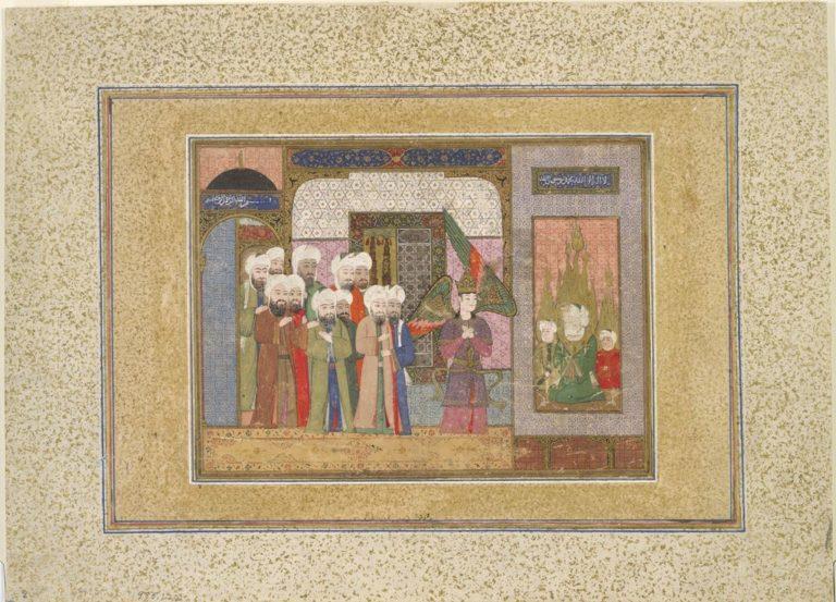 Ангел Джабраил посещает Мухаммада и его внуков, Хасана и Хусейна. Ок. 1590–1600