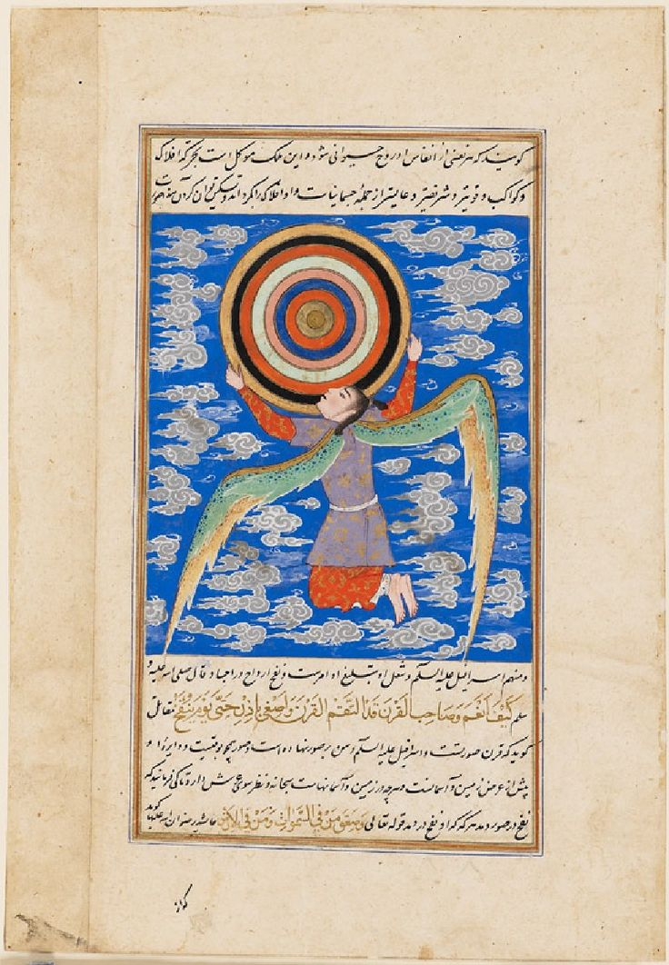 Ангел Джибриль держит небесные сферы. Иран, II пол. XVI в.