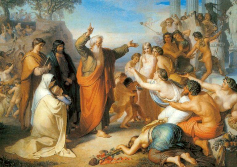 Апостол Иоанн Богослов, проповедующий на острове Патмосе во время вакханалий. 1856