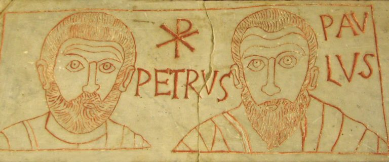 Апостолы Пётр и Павел с хрисмоном между ними. IV в.