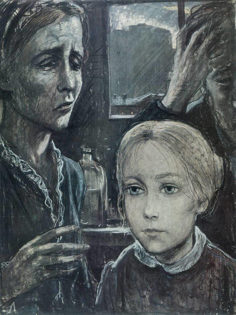 Бедное семейство. Иллюстрация к повести «Неточка Незванова». 1970