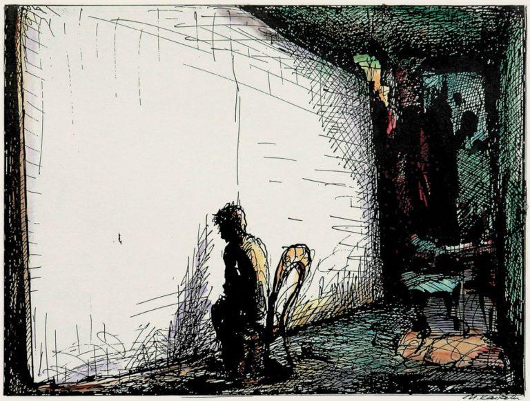 Человек, улетевший в картину. Эскиз к инсталляции. 1998