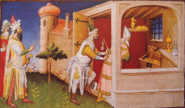 Чингизид Хулагу (слева) заключает халифа аль-Мустасима в сокровищницу, чтобы он погиб от голода. XV в.