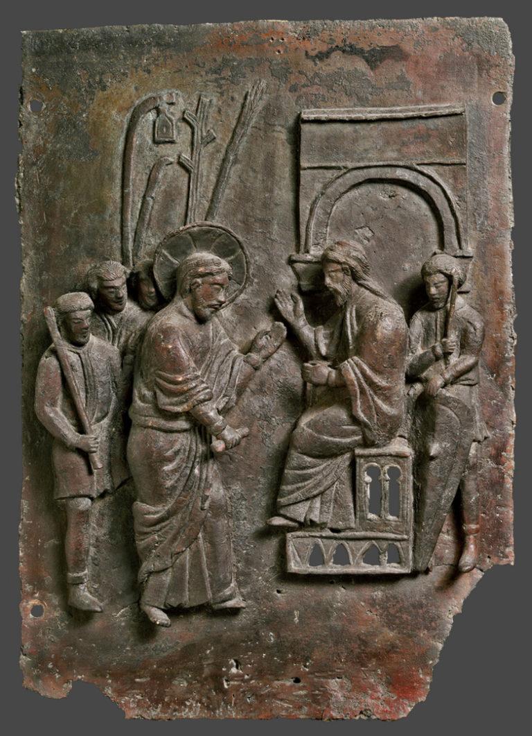 Допрос Христа первосвященником Каиафой. Суд синедриона. Италия, XII-XIII вв.