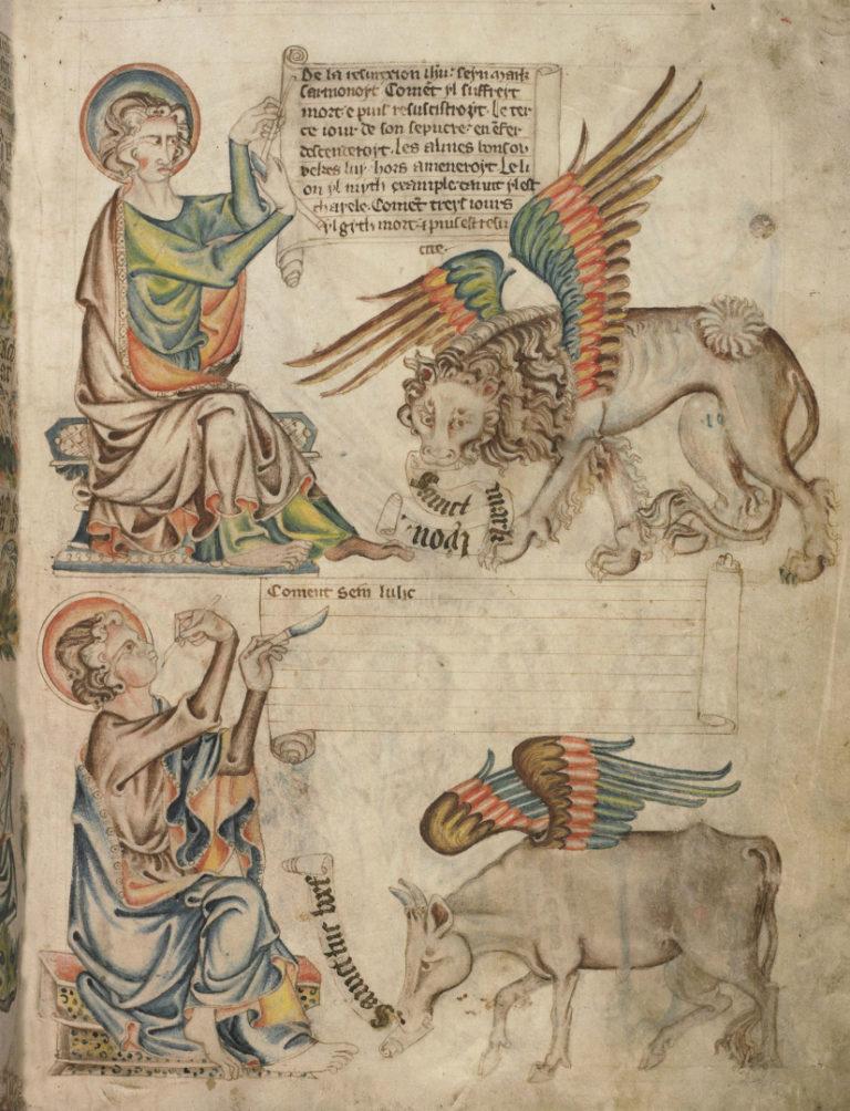 Евангелисты Марк и Лука и их символы – лев и телец. XIV в.