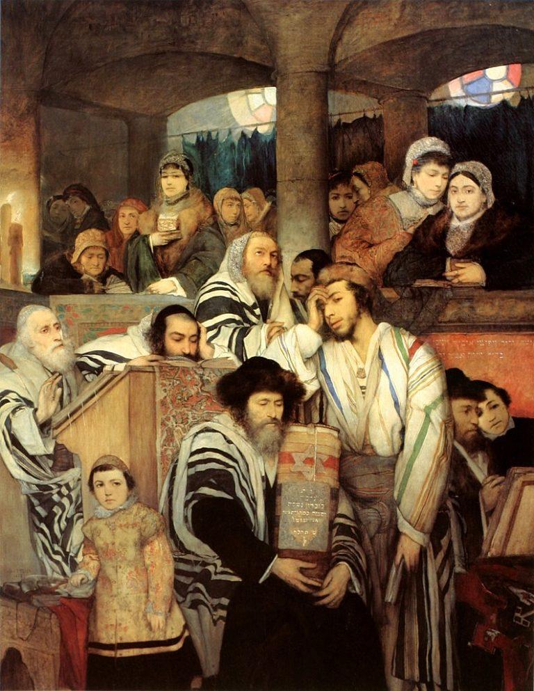 Евреи молятся в синагоге на Йом-Киппур. 1878