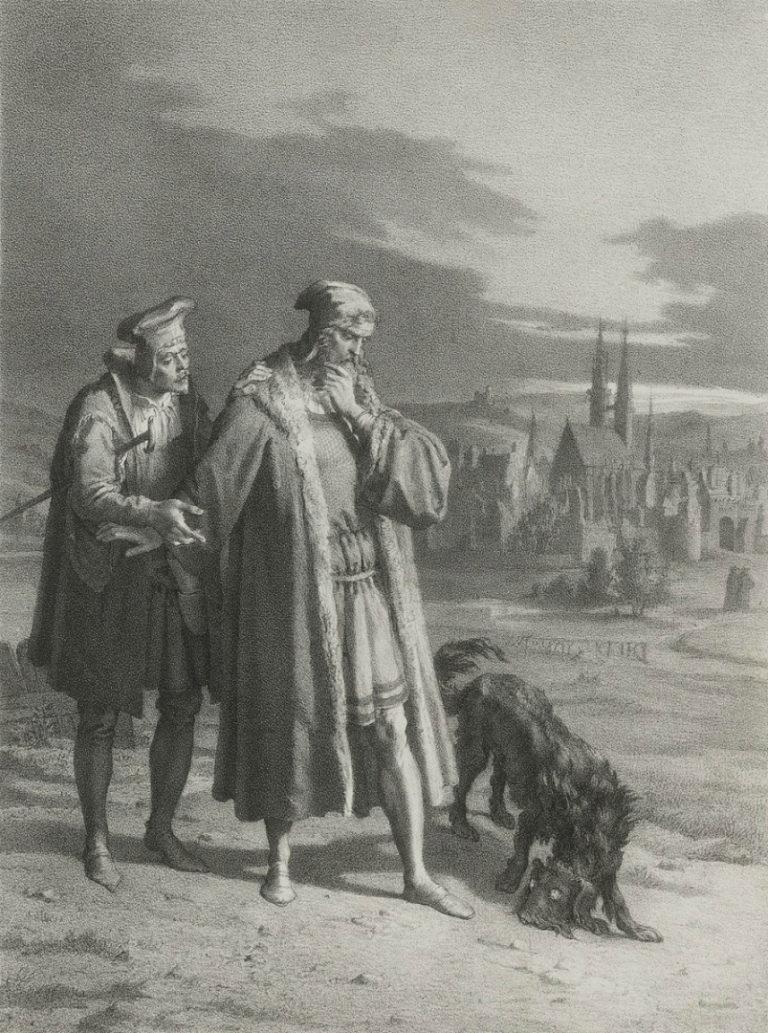 Фауст и Вагнер встречают Мефистофеля в образе собаки. 1847–1850