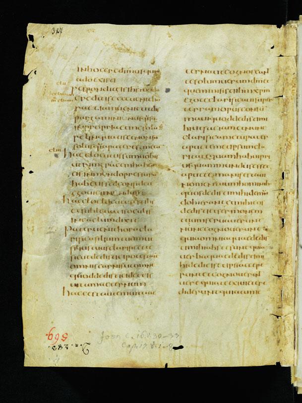 Фрагмент Евангелия от Иоанна. Сант-Галленский кодекс 1395. V–VI вв.