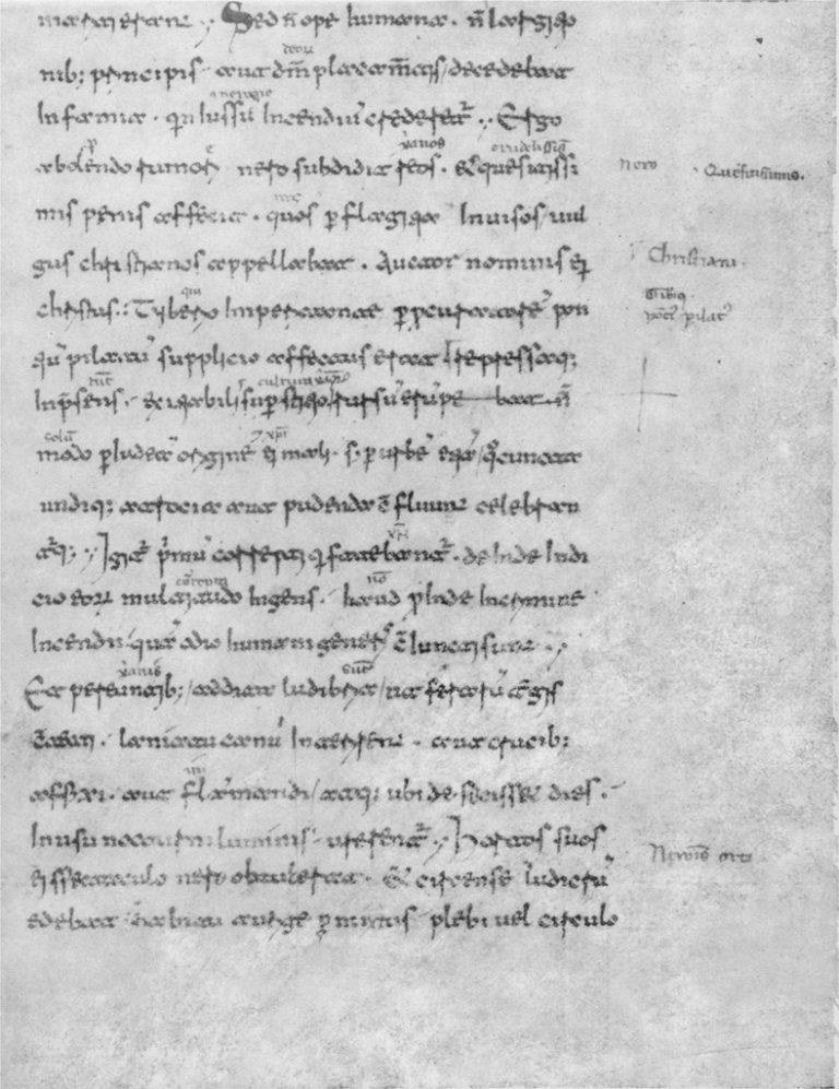 Фрагмент рукописи «Медицейская II» с текстом «Анналов» Тацита. XI в.
