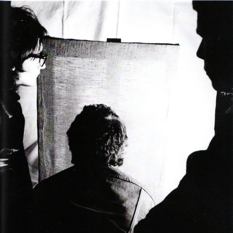 Группа «Гнездо» во время акции «Гипнотизирование холста». 1978