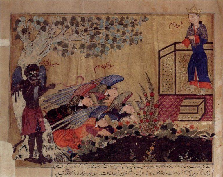 Иблис наблюдает за тем, как ангелы поклоняются Адаму. Ок. 1415