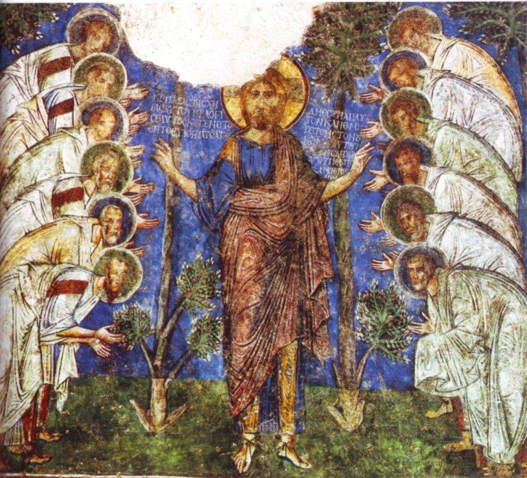 Иисус Христос и двенадцать апостолов. XII в.