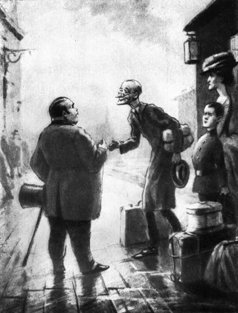 Иллюстрация к рассказу А. П. Чехова «Толстый и тонкий»