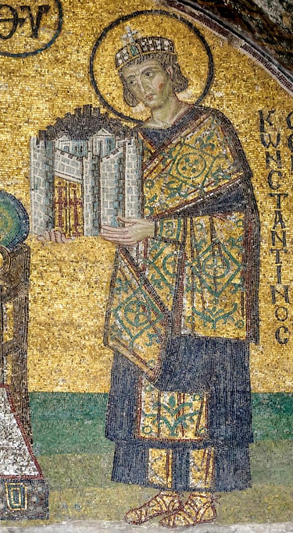 Император Константин Великий, приносящий в дар Богородице город Константинополь. Кон. X в.